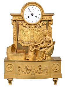 French Empire Gilt Bronze Figural Mantel Clock