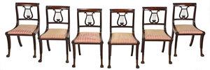 Very Fine Rare Set of Six Lyre Back Klismos Chairs