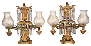 Pair Classical Gilt Bronze Argand Lamps
