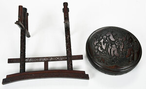 Carved Chinese Box and Carved Sword Stand
