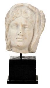 Carved Marble Head of Woman on Stand