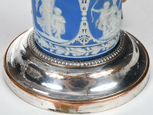 Pair Wedgwood and Silver Plated Argand Lamps