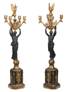 Pair Empire Patinated  Bronze Figural Candelabra