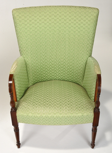 Rare Federal Inlaid Mahogany Barrel Back Armchair