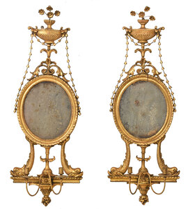 Very Fine Pair Adam Carved Gilt Mirrored Sconces