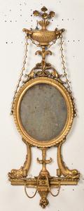 Very Fine Pair Adam Carved Gilt Mirrored Sconces