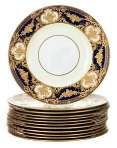 Set of 12 Wedgwood Cobalt and Gilt Plates