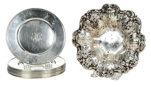 Pair of Francis I Bowls and Ten Sterling Plates