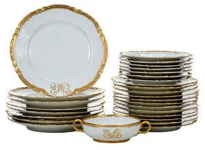 39 Pieces of Monogrammed Limoges Dinnerware
