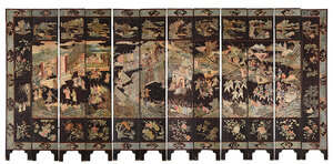 Fine Chinese Coromandel Lacquer Twelve Panel Screen