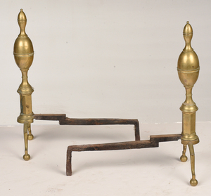Pair American Federal Lemon Top Brass Andirons