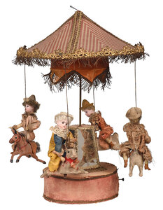 French Musical Carousel with Children on Rabbits