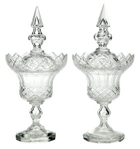 Pair of Cut Glass Lidded Sweetmeat Dishes