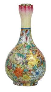 Chinese Famille Rose Lotus-Mouth Bottle Vase