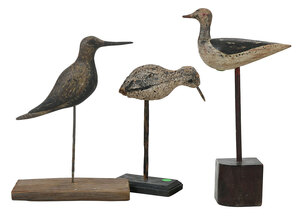 Three Carved and Painted Shore Birds, One Signed