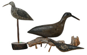 Three Carved and Painted Shorebirds