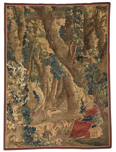 Verdure Tapestry with Figures in a Landscape