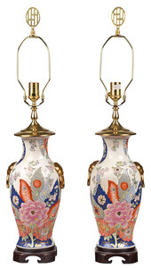 Pair of Tobacco Leaf Vases Converted to Lamps