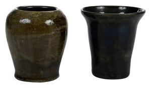 Two Unusual Bachelder Pottery Vases