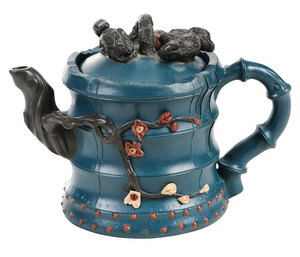 Chinese Yixing Teapot and Cover with Blue Ground