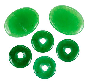 Six Pieces Apple Green Carved Jade