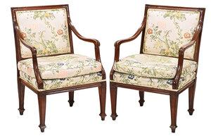 Pair Louis XVI Carved Walnut Armchairs