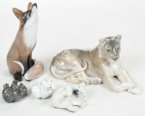 Group of Six Porcelain Animal Figures