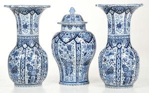 Three Piece Blue and White Delft Style Garniture