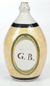 Hand Painted Creamware Flask