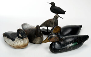 Group of Six Duck and Shorebird Decoys