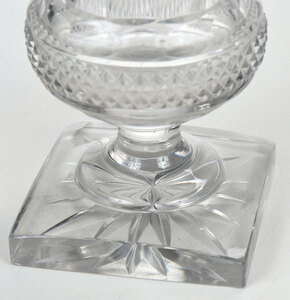 Two Pairs of Cut and Molded Glass Table Objects