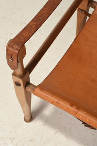 Modern Leather Upholstered Beechwood Campaign Chair