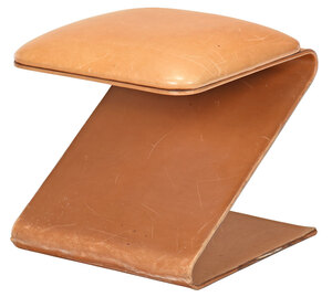 Modern Leather Upholstered Z Form Footstool