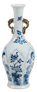 A Chinese Blue and White Molded Porcelain Vase