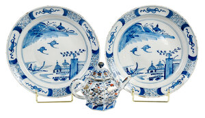 Imari Teapot and Pair of Chinese Export Plates