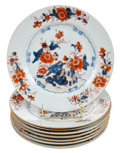 Set of Eight Chinese Imari Porcelain Plates