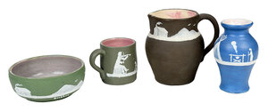 Four Pieces Pisgah Forest Cameo Pottery