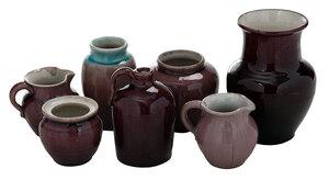 Seven Pieces Aubergine Pisgah Forest Pottery