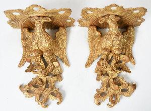 Pair Carved Gilt Eagle Wall Brackets
