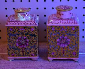 Near Pair Chinese Famille Rose Tea Caddies