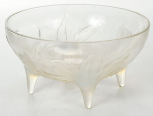 R. Lalique Lys Opalescent Footed Bowl