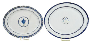 Two Chinese Export Armorial Porcelain Platters