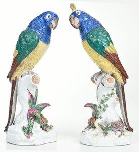 Pair of German Painted Porcelain Parrots