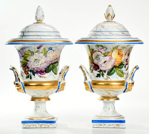 Pair Large Old Paris Covered Urns