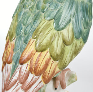 Pair of Italian Majolica Glazed Cockatiels