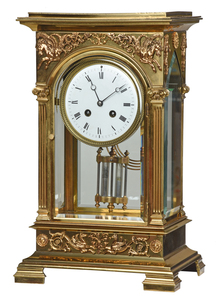 French Crystal Regulator Mantel Clock