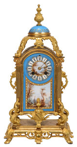 French Gilt Bronze and Sevres Style Mantel Clock