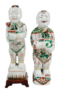 Two Chinese Famille Verte Figures of Boys