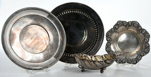 Four Sterling Trays/Dishes