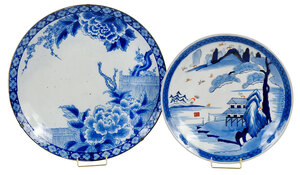 Two Japanese Blue and White Porcelain Chargers